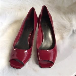 Nine West wine-colored peep toe heels
